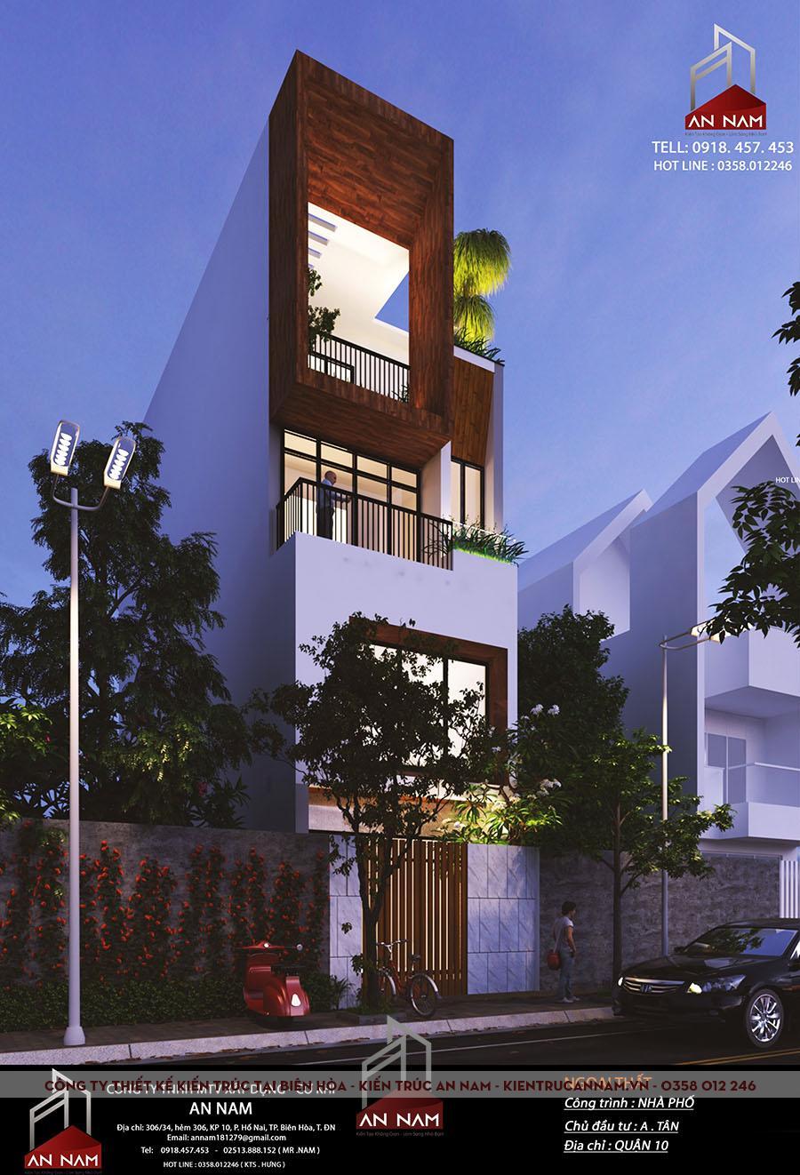 kiến trúc nhà phố 4 tầng tại Hồ Chí Minh sang trọng