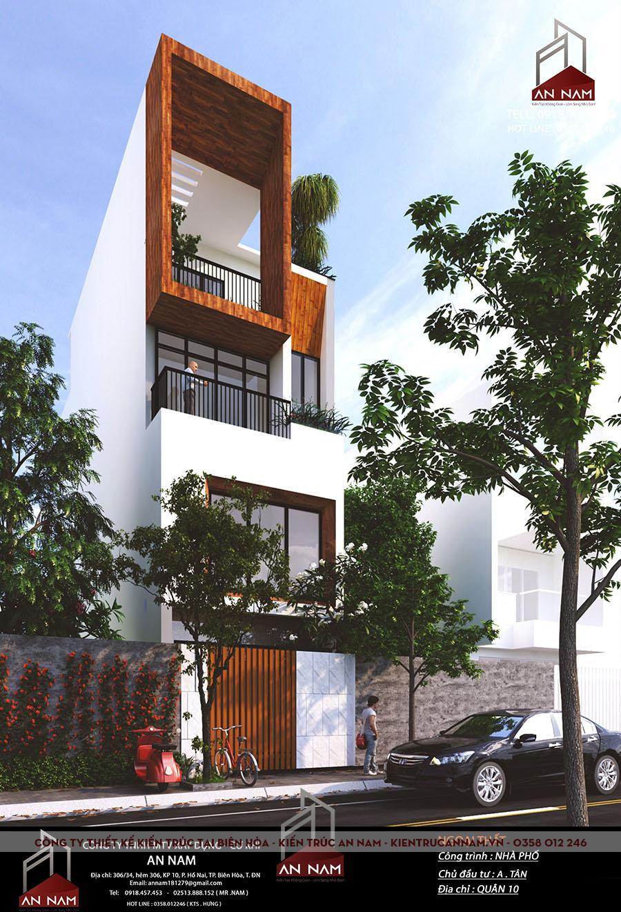kiến trúc nhà phố 4 tầng tại Hồ Chí Minh