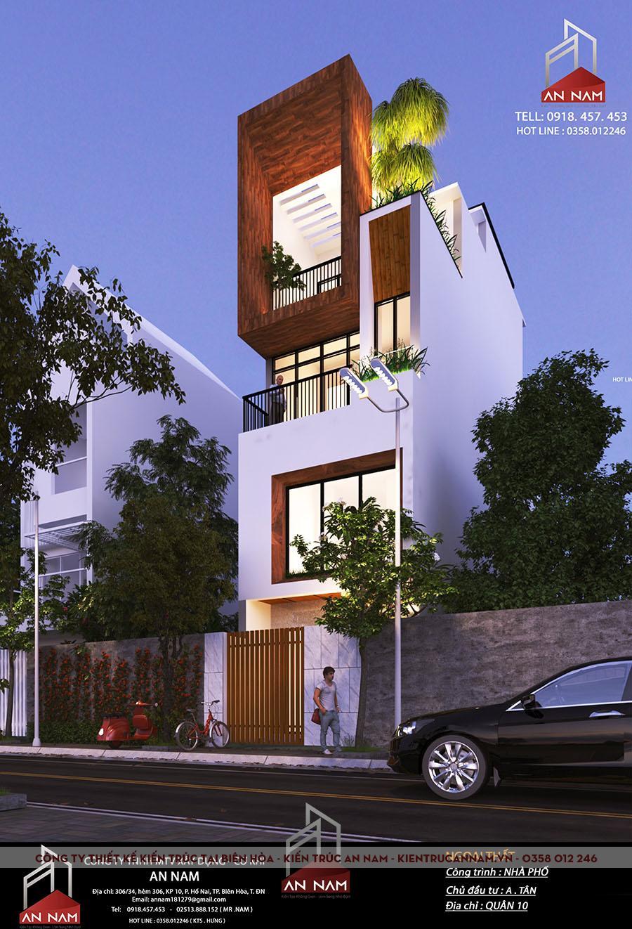 kiến trúc nhà phố 4 tầng tại Hồ Chí Minh đẹp