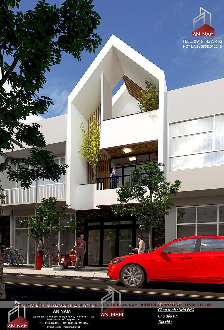 thiết kế kiến trúc nhà phố 3 tầng Bình Dương đỉnh cao