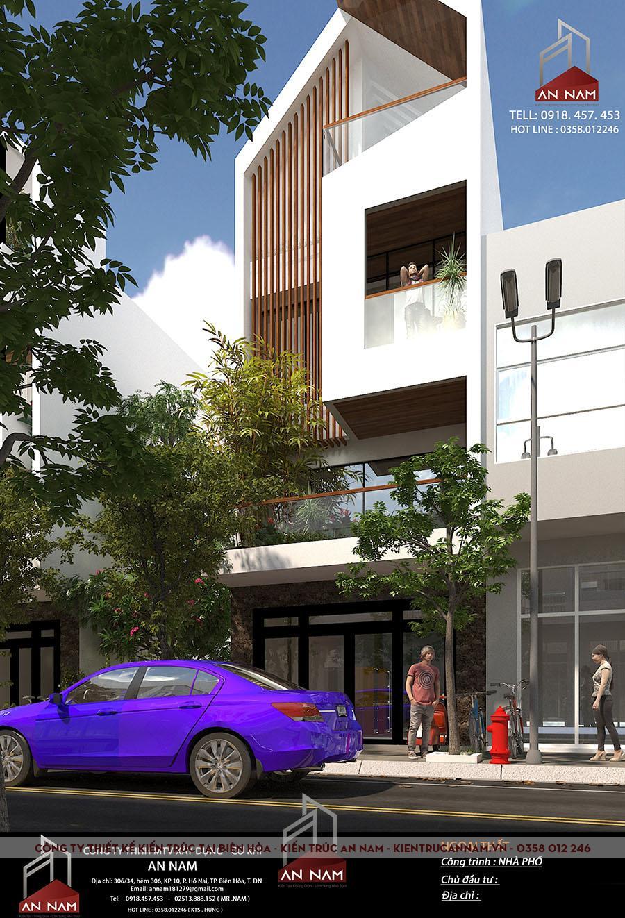 thiết kế nhà phố 3 tầng Bình Dương hiện đại