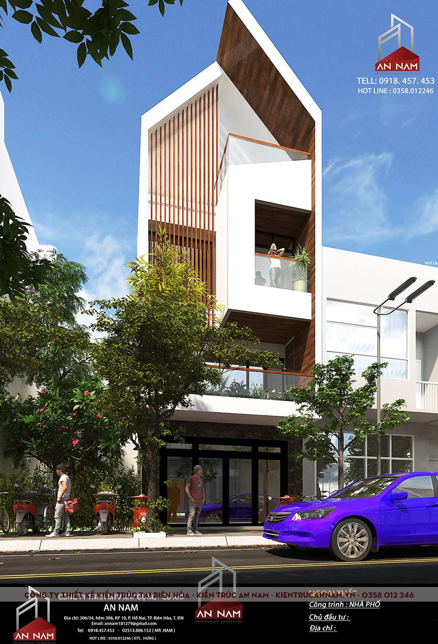 thiết kế nhà phố 3 tầng Bình Dương sang trọng