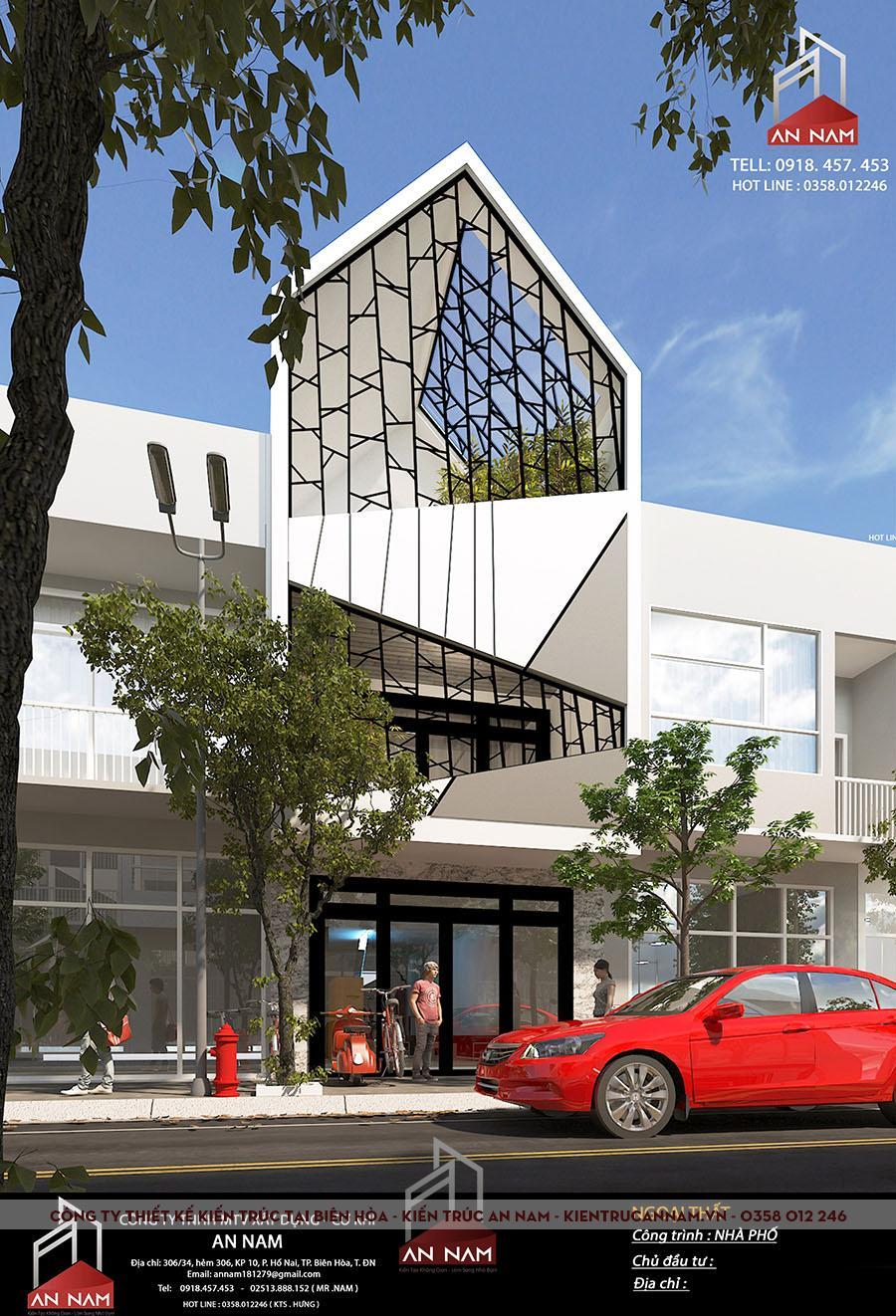 thiết kế kiến trúc nhà phố 3 tầng Bình Dương sang trọng