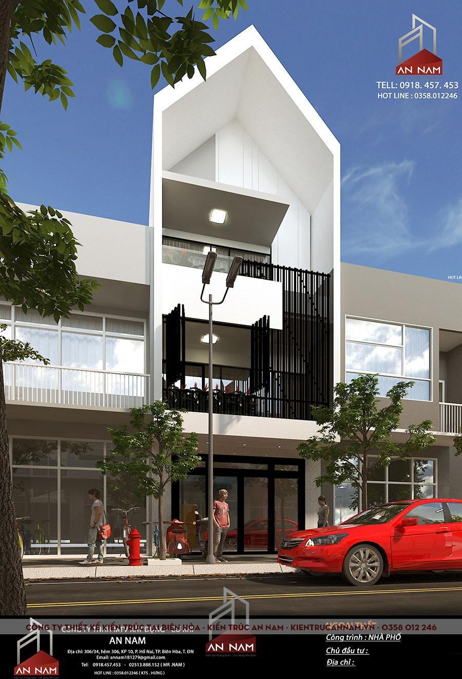 thiết kế kiến trúc nhà phố 3 tầng Bình Dương đẹp
