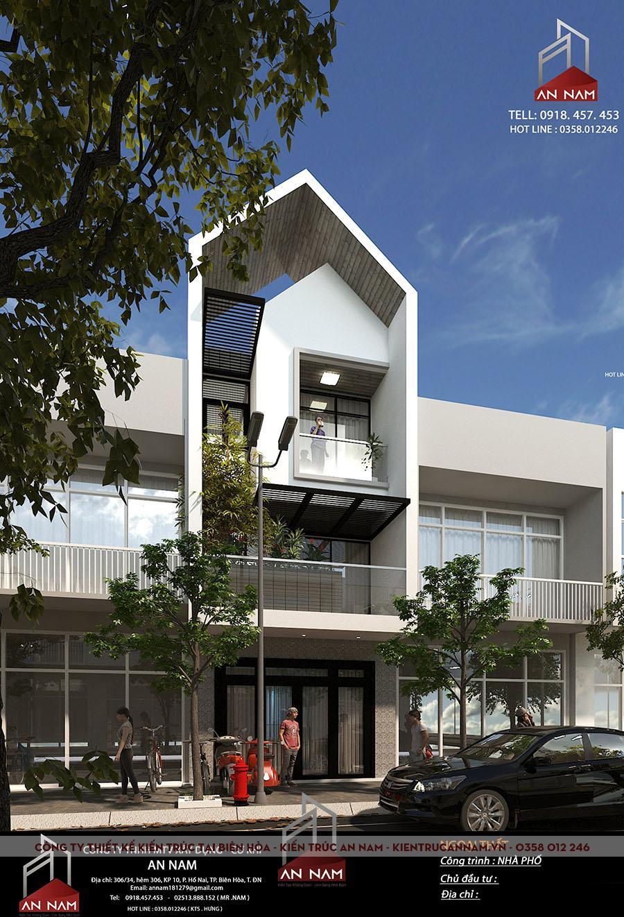 thiết kế nhà phố 3 tầng Bình Dương